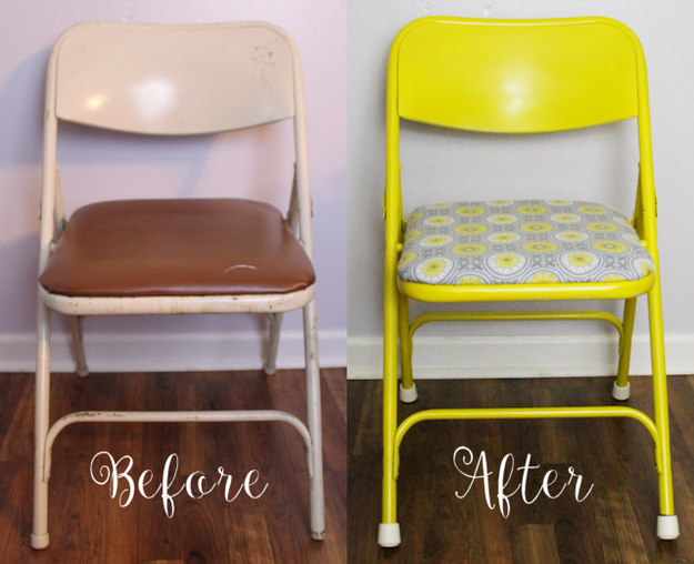 Repaint and reupholster an OG folding chair for a whimsical new look.