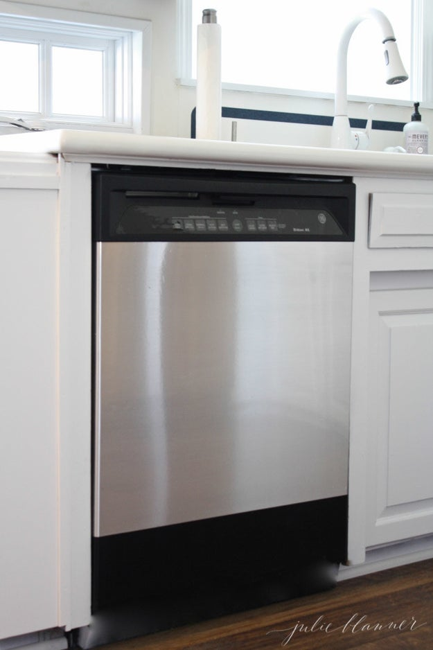 Give an old appliance a sleek stainless-steel look without forking over a ton of cash by covering it in contact paper.
