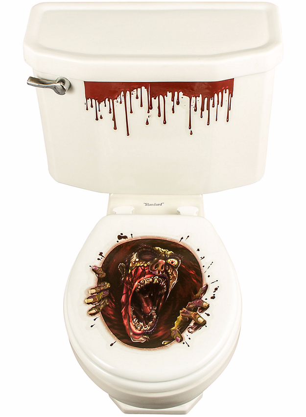 And then stick a gory zombie-infested cover onto your toilet seat because, well, you warned them not to go in.