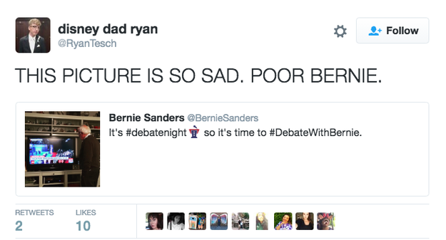 Bernie Sanders Posted A Picture Of Himself Watching The Debate And Became A Heartbreaking Meme