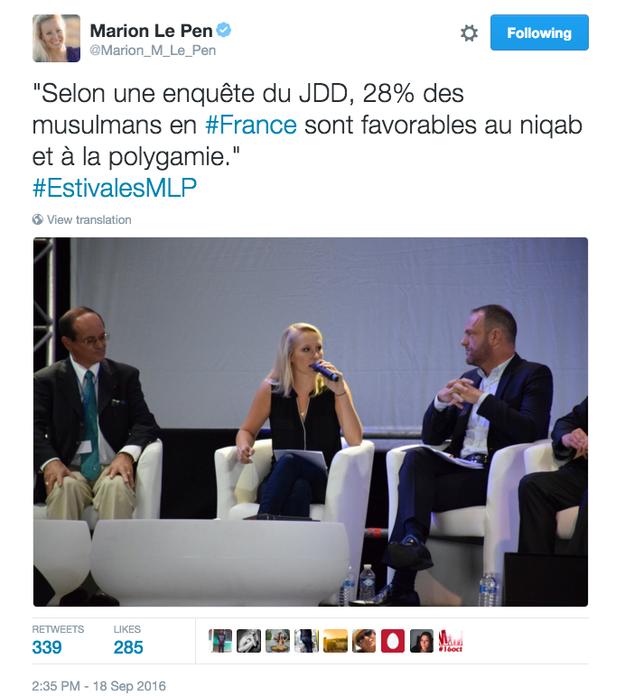 De la même façon, il n'y a pas 28% de musulmans qui sont favorables à la polygamie, mais 75% de musulmans qui trouvent «normal que la polygamie soit interdite en France».