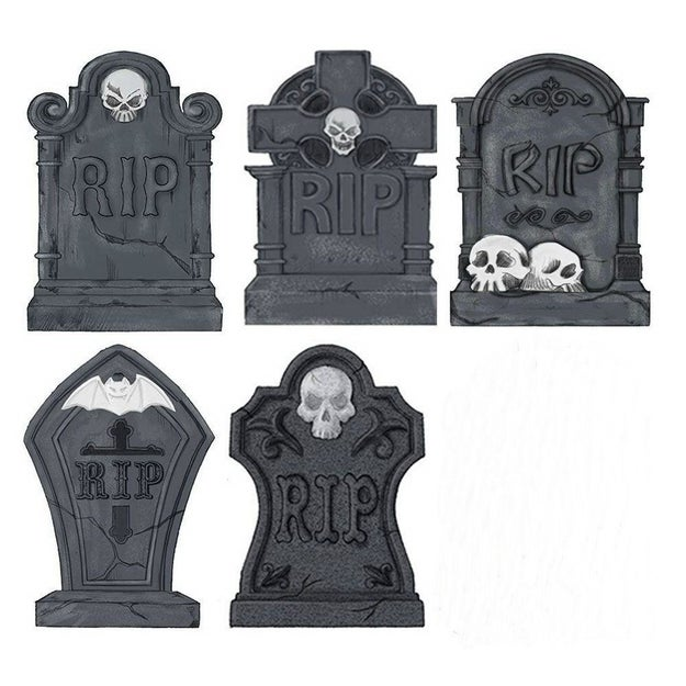 Anchor down some tombstones on your front yard for that classic Halloween vibe.