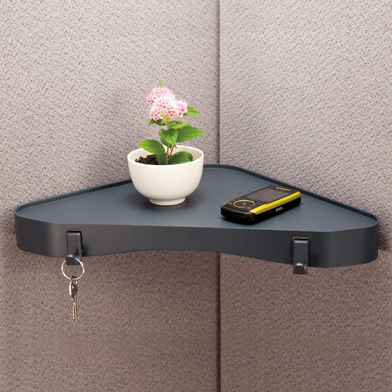 Increase your space by adding a corner shelf in your cubicle. & 34 Ways To Make Your Cubicle So Much Better