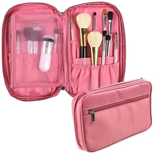 Makeup brush madness will be a issue of the past with this bright pink cosmetics bag.