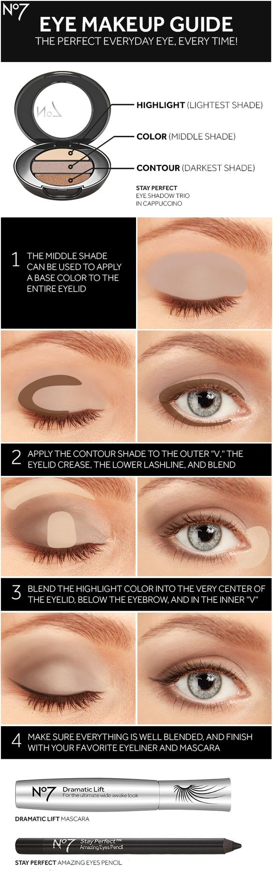 Follow this guide to learn how to use any three-shade palette to its fullest potential.