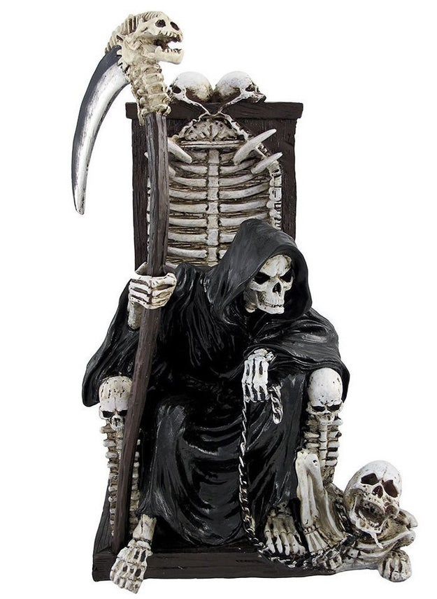 Plant a grim reaper chilling on its throne right in the middle of your living room for maximum impact.