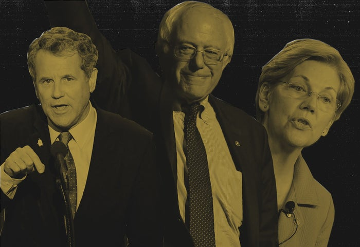 Senators Sherrod Brown, Bernie Sanders, and Elizabeth Warren, who seek to limit the scope of ISDS.