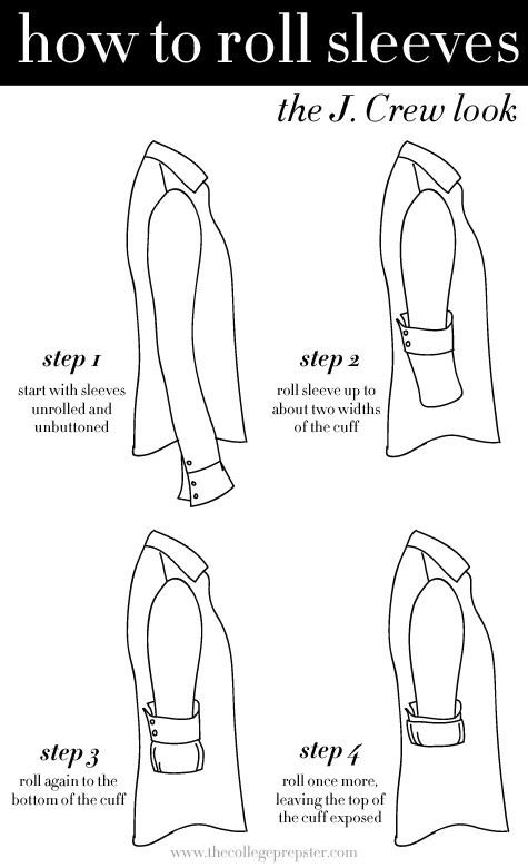 Aprenda a enrolar suas mangas como fazem na J. Crew.