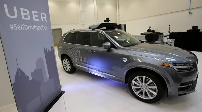Uber's Volvo XC90 self-driving car is shown in Pittsburgh, Pennsylvania, on September 13, 2016.