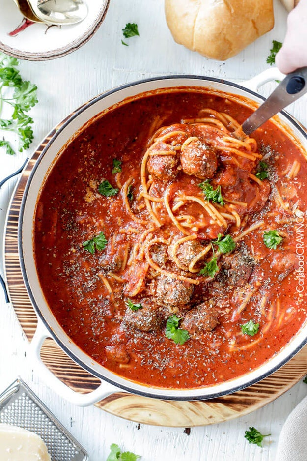 One Pot Spaghetti and Meatball Soup