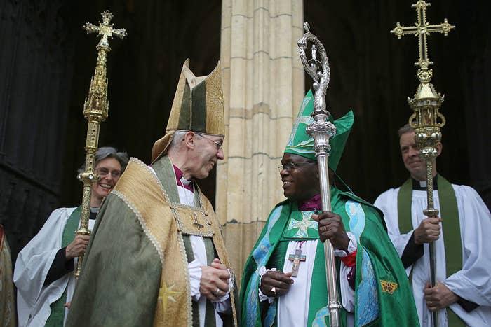 The Archbishop of York John Sentamu, (R) and the Archbishop of Canterbury Justin Welby.