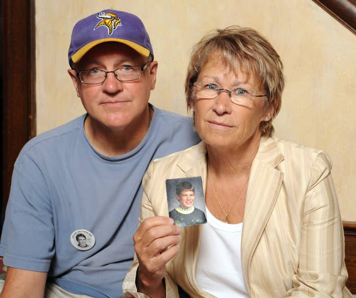 Patty and Jerry Wetterling show a photo of their son Jacob Wetterling, who was abducted in 1989.