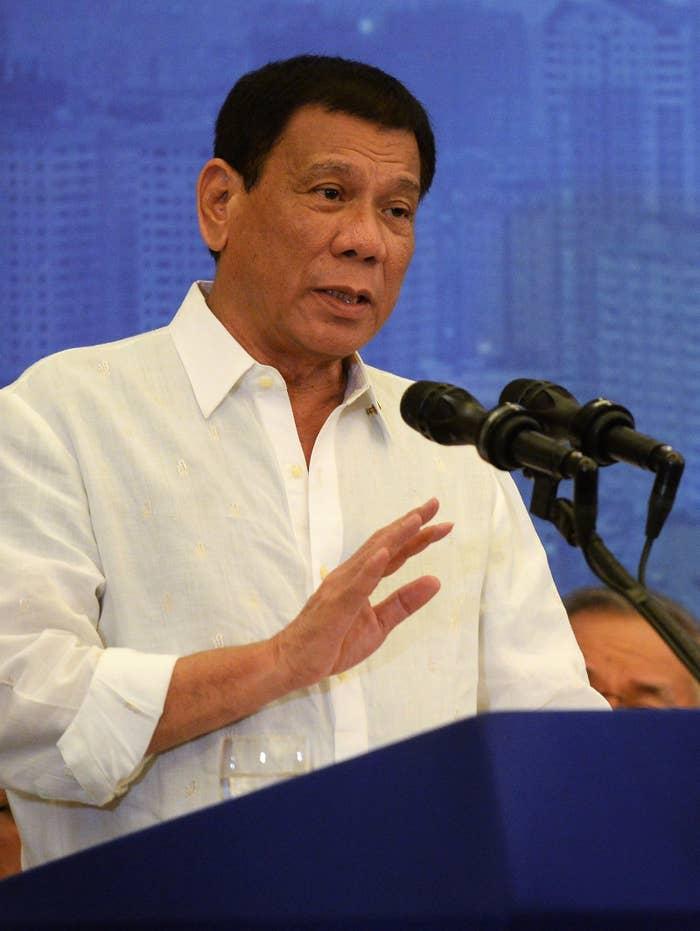 Rodrigo Duterte speaks in Hanoi, Vietnam.