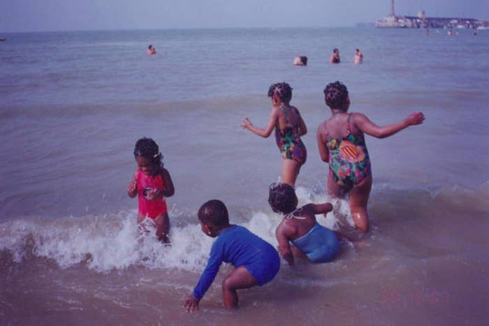 Tania (far left) playing with her cousins on Margate seaside in 1995.