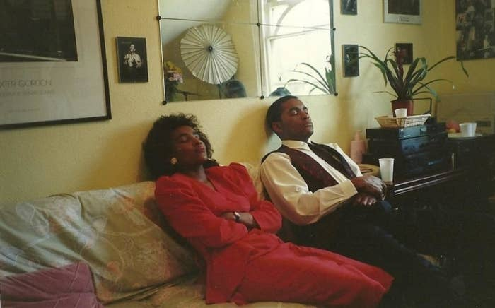 """Contributor's caption: """"1990 – my aunt and uncle at a family engagement. They both hadn't slept the night before as they went clubbing all night and had to rush to the family dinner. Always makes me laugh."""""""