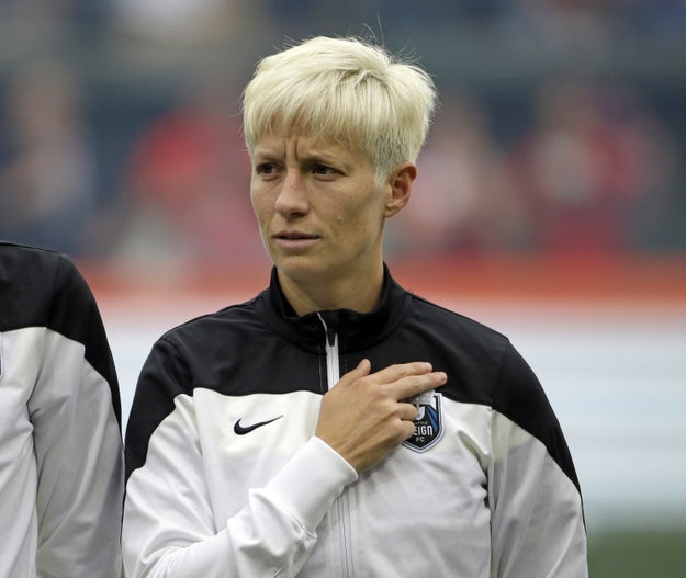 Soccer star Megan Rapinoe took a knee on Sunday during the playing of the national anthem in solidarity with the NFL's Colin Kaepernick.