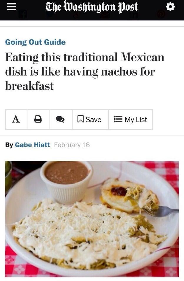 """Cuando sus periodistas se refirieron a los chilaquiles como """"nachos""""."""