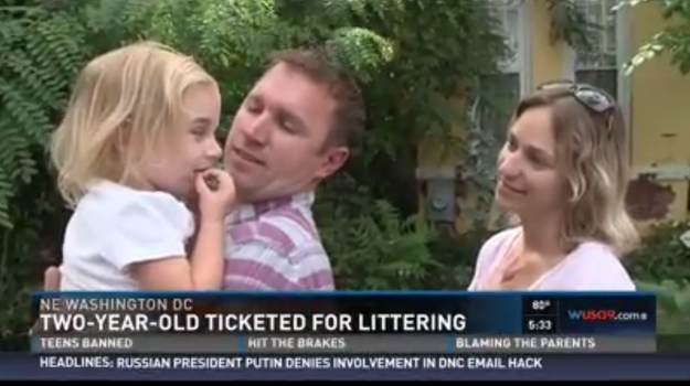 The nation's capital is now home to the country's most adorable litterbug — a two-year-old girl named Harper who was slapped with a $75 ticket for allegedly dumping unopened mail in an alley near her home.