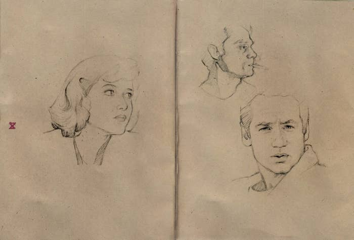 Here's a field sketch of our subjects of interest. Study their faces.