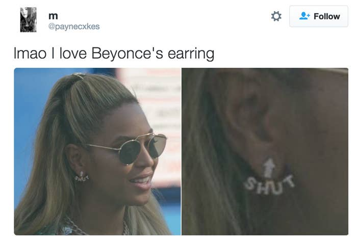 Image result for beyonce shut up earrings
