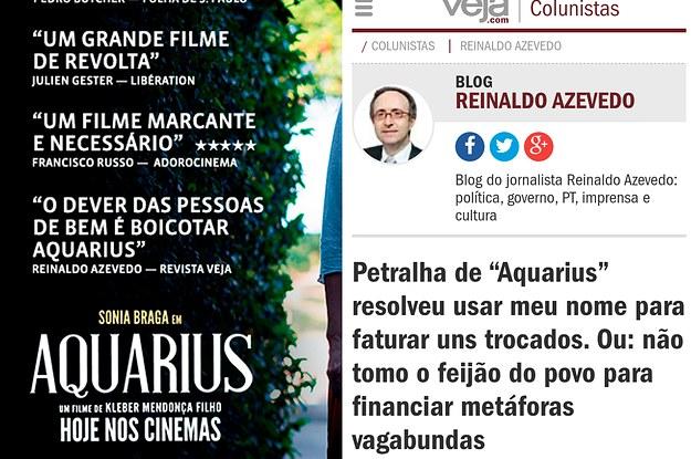 Reinaldo Azevedo Não Curtiu Sua Frase No Cartaz De Aquarius