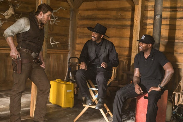 From left: Chris Pratt, Denzel Washington, and Antoine Fuqua