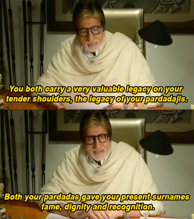 In the letter, Bachchan writes about the restrictions society will impose on them despite their family legacies, and how they should make their own choices.