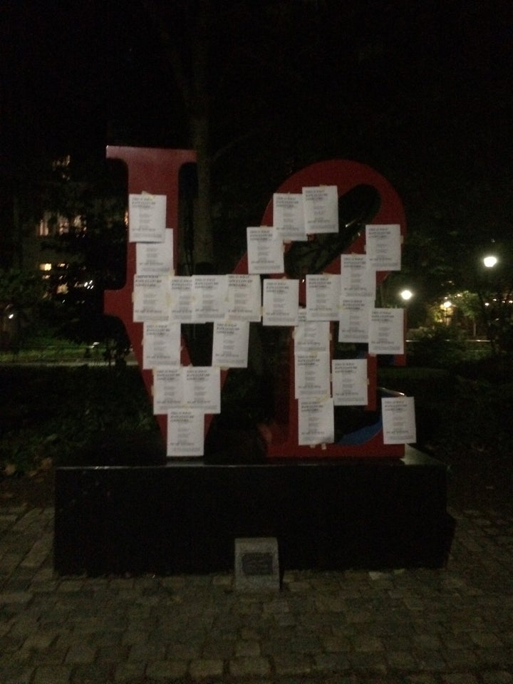 """Silberling and her friends distributed approximately 600 flyers of the email with the phrase """"this is what rape culture looks like"""" printed over it, across the Philadelphia campus Monday night. On Tuesday, the students plastered more flyers on campus, including on the school's iconic 'LOVE' sign."""