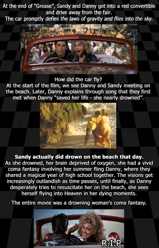 The theory, which came about in 2013, originates from Reddit user atomicbolt. In a nutshell, the theory claims that Sandy drowned at the start of the film, and everything was just a fantasy.