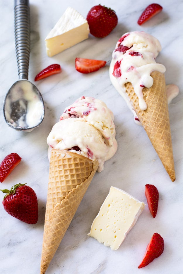 No-Churn Brie Ice Cream With Roasted Strawberries