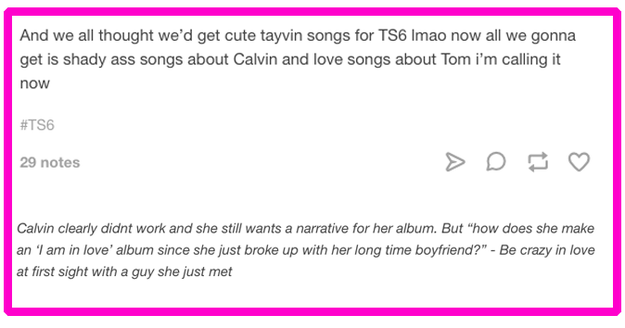 The theory: Taylor wants album six to be about love