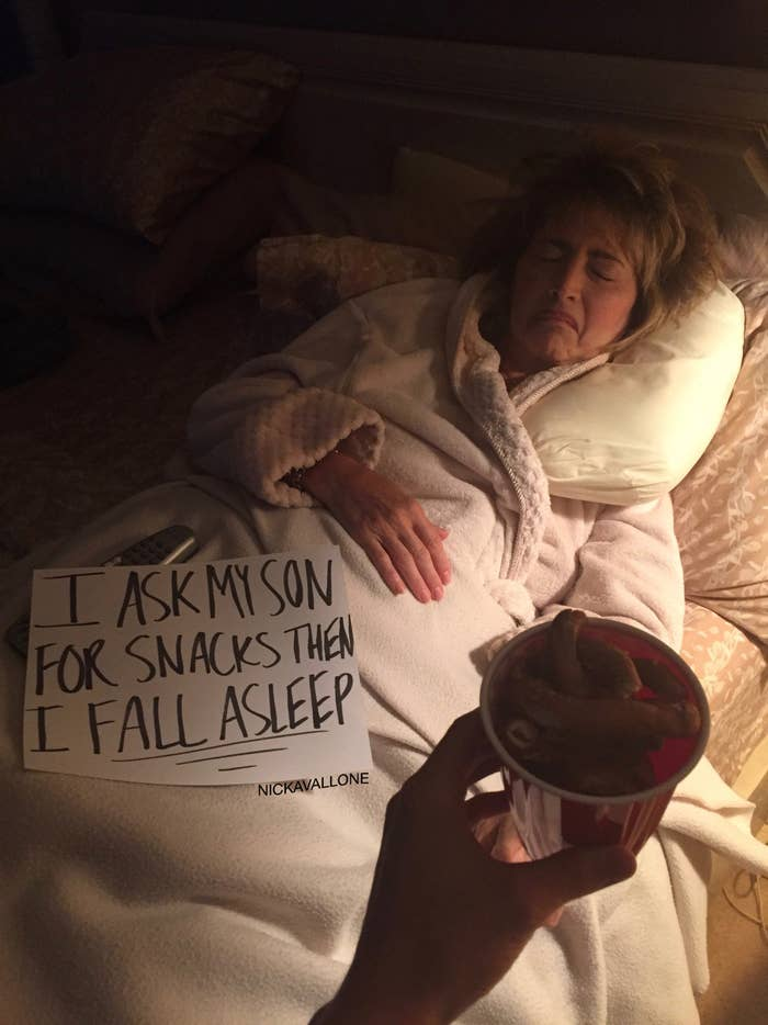 "His mom fell asleep ""consistently enough that I had to make a post,"" said Nick.He made a sign and posted it to his Tumblr and Instagram."
