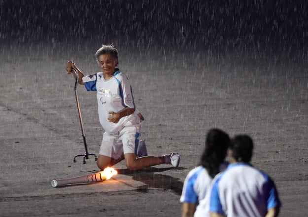 But amid heavy rain in the Maracanã stadium, Marcia Malsar slipped as she carried the Paralympic torch.