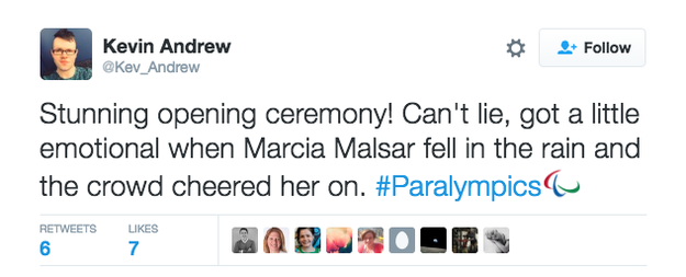 Malsar, who won gold, silver and bronze at the 1984 Paralympics that was split between New York and Stoke Mandeville Hospital in the UK, was praised online for dusting herself off and getting on with things.