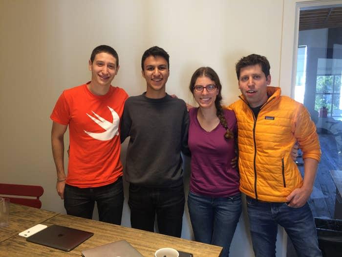 VotePlz co-founders Ari Weinstein, Fouad Matin, Erika Reinhart, and Sam Altman (left to right)
