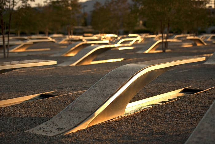 Each bench outside of the Pentagon is dedicated to one of the 184 people who died in the Pentagon and American Airlines Flight 77.