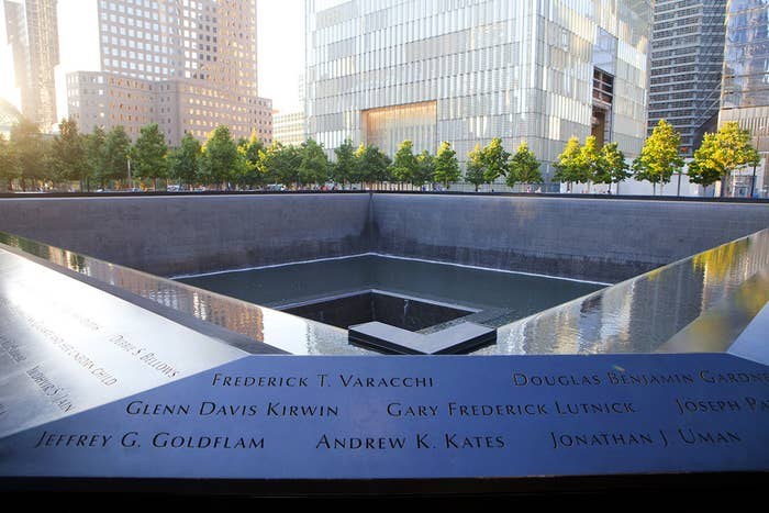 The 9/11 Memorial Pool was constructed at the former location of the World Trade Center. The plaza features two reflecting pools inscribed with the names of those killed on Sept. 11, 2001.