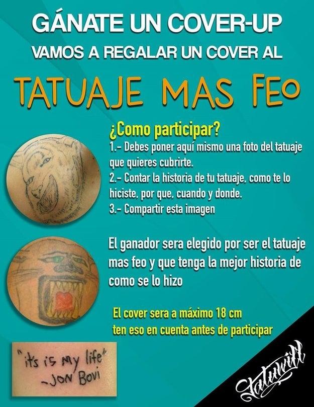 Un estudio de tatuajes en Mérida, Yucatán, publicó este concurso en su página de Facebook.
