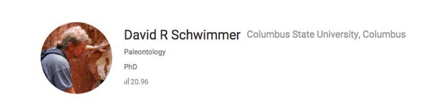 La Universidad Estatal de Columbus tiene un paleontólogo que se llama Dr. David R. Schwimmer.