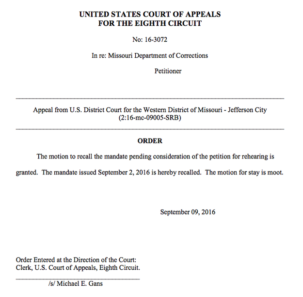Read the brief 8th Circuit order: