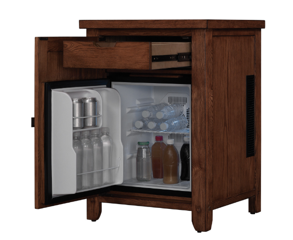 An elegant wood nightstand fridge that keeps bevvies at the ready.