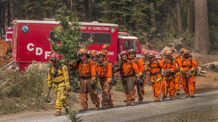 Inmates work as firefighters in California.