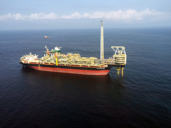 An oil ship moored off the coast of Ghana in 2016.