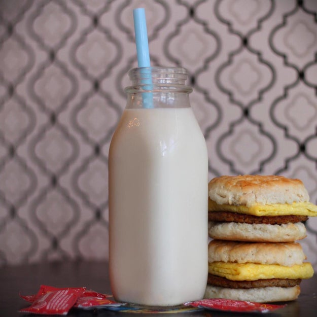 This Honey Nut Cheerio & Bourbon Cereal Milk + Mcdonald's Sausage Egg Biscuits: