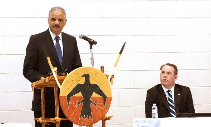 Former Attorney General Eric Holder speaking at United Tribes Technical College in 2014.