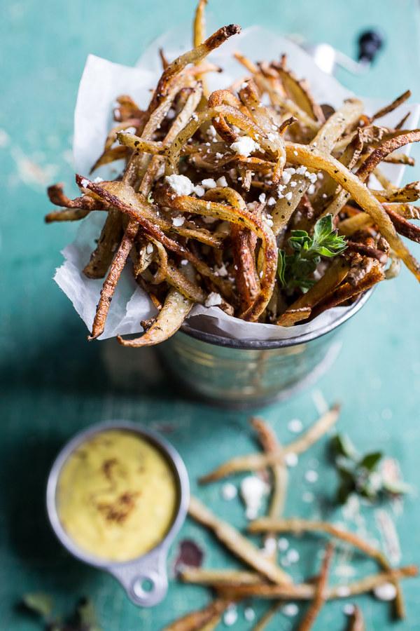 Greek Feta Fries With Roasted Garlic Saffron Aioli