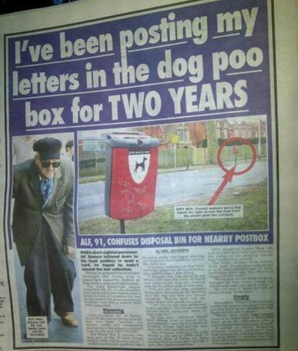 And this poor old man, who just wanted to send some damn letters: