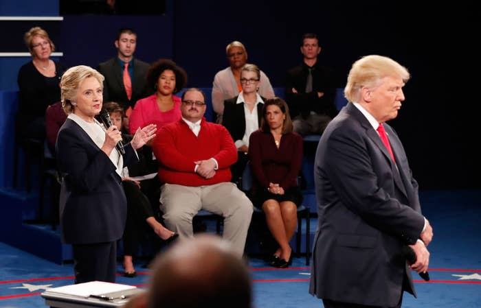 Hillary Clinton and Donald Trump during the town hall debate at Washington University