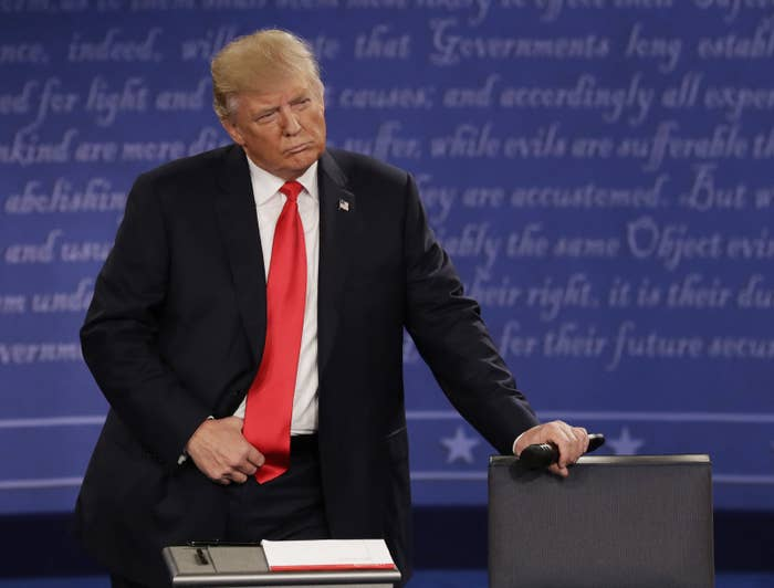 """Hours after the footage was released, Trump also issued a taped apology, saying, """"I've never said I'm a perfect person, nor pretended to be someone that I'm not. I've said and done things I regret, and the words released today on this more than a decade-old video are one of them."""" During the debate, moderator Anderson Cooper asked Trump to address his 2005 comments, saying, """"You bragged that you have sexually assaulted women. Do you understand that?""""Trump dismissed the allegation, saying, that although he was """"embarrassed by it"""" it was """"locker room talk."""""""