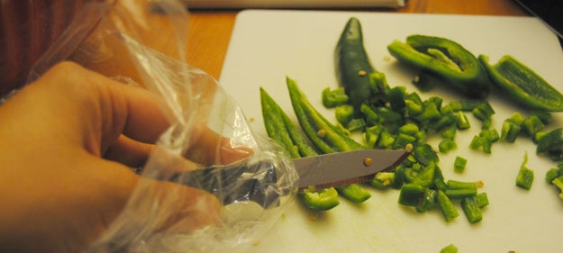 If you don't have gloves lying around, put sandwich bags over your hands before you work with hot peppers.